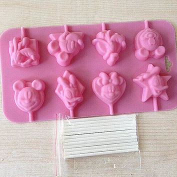 Cookie Mould  Mickey Mouse and Donald Duck Lollipop mold Cake Mold  Fimo Resin Crafts Soap Mold Flexible Silicone Mold