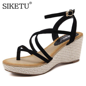 SIKETU Women Sandals 2017 Sexy Platform Wedge Sandals Summer High Heel Gladiator Sandals For Women Casual Shoes size 35-40