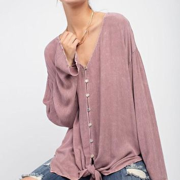 Mineral Washed Button Down Boulevard Blouse