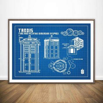 Doctor Who Tardis Blueprint Graphic Wall Art Paint Wall Decor Canvas Prints Canvas Art Poster Oil Paintings No Frame
