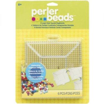 PERLER- Perler Fun Fusion Pegboards. These large, clear, interlocking square peg boards are designed for use with Perler Beads