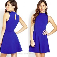 Licensed cool FOREVER 21 RETRO SKATER FIT AND FLARE DRESS CLASSIC ROYAL BLUE JRS M-L NEW