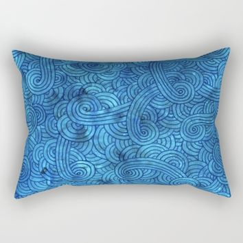 Turquoise blue doodles Rectangular Pillow by Savousepate