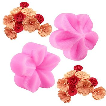 Plum Flower Petal Silicone Mold Fondant Cake Soap Candle Decorating Embossing Mold Kitchen Baking Gadgets DIY Bakeware Tools