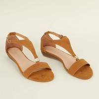 Tan Suedette Low Wedge Ring Strap Sandals | New Look