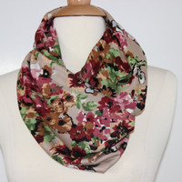 MultiColor Floral Infinity Scarf - White Pink Rose on Beige - Handmade Circle Scarf - Cotton Jersey Blend Knit Loop Scarf - Snood