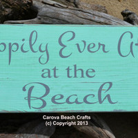 Wedding Sign - Beach Wedding - Mint Green - Coastal - Nautical Theme - Happily Ever After - Custom - Painted - Reclaimed Wood - Destination