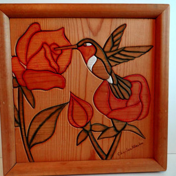 Vintage Handcrafted Wood Mosaic Hummingbird and Roses Art Wall Hanging, Home Decor, Bird Nature Picture, Cabin Office Decor