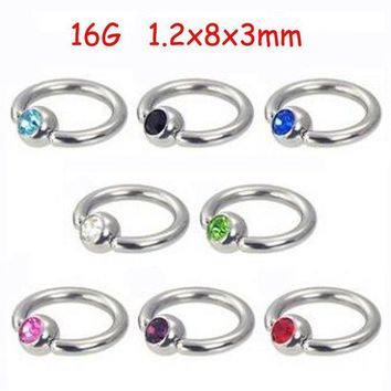 ac DCCKO2Q 2Piece Stainless Steel Captive Hoop Rings CBR Eyebrow Tragus Earrings BCR Nose Closure Crystal Body Piercings Jewelry Helix