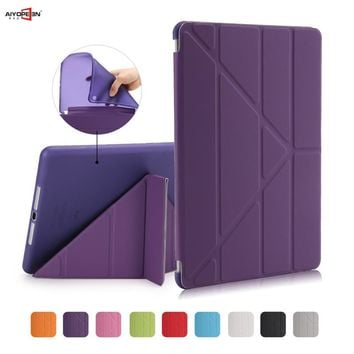 for Ipad air1 case smart wake up sleep tpu back cover for apple ipad 5 11-fold pu leather flip stand soft with small gift