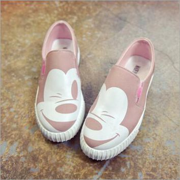 2016 autumn new Korean female low to help single shoes round canvas round flat Mickey