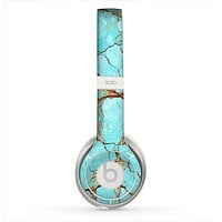 The Cracked Teal Stone Skin for the Beats by Dre Solo 2 Headphones
