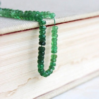 Rare Tsavorite Garnet Rondelle Gemstone Green Faceted Rondel 4.5mm 40 beads Limited Stock