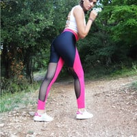 Handmade Black - Fuschia Leggings Geometric Shapes Athletic Bottoms Sports Pants Stretch Leggings Spandex Fabric Sexy Leggings Halloween