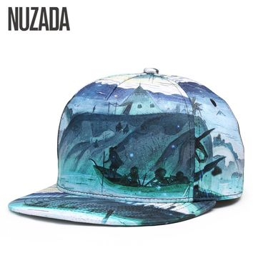 Brand NUZADA 3D Printing Men Women Couple Baseball Cap Creative Design Hip Hop Caps  Cotton Snapback Hats Bone Adjustable
