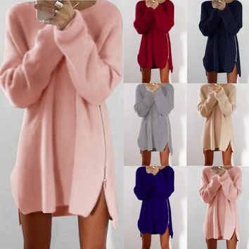 6 colour Warm wool 2016 Winter Autumn Women Dress Woolen Knit Elegant Dresses Casual Long Sleeve Zipper Casual Womens Clothing