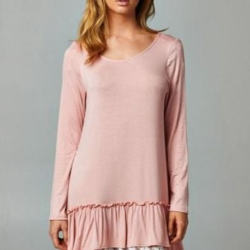 Ruffle Love & Lace Dusty Pink Layered Tunic Dress