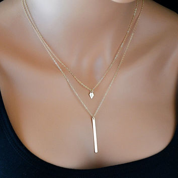 Layered Gold Necklace, Initial Necklace, Layered Necklace Set, Long Bar Necklace, Monogram, Double Strand