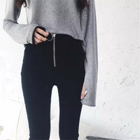 Denim Summer Fashion Women's Fashion Korean Casual Ring Zippers High Waist Pencil Pants [10203232455]
