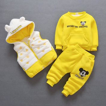 Baby Girl Clothes Autumn Winter Cartoon Long Sleeved Hoodies Tops + Pants +Coat Children's Outfits Kids Bebes Jogging Suits