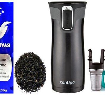 Jasmine Supreme Green Tea with Travel Tumbler and Tea Infuser
