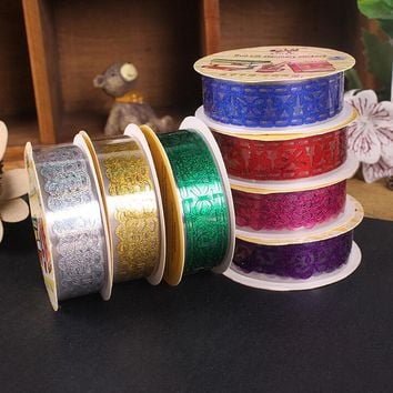 Peerless 7 Colors Decorative Hollow Out Transparent Lace Tape Washi Tape Self Adhesive Tape Scrapbook Tape