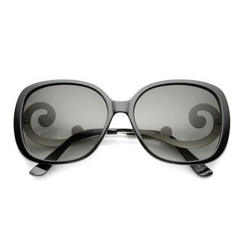 Women's Square Sunglasses With Swirl Temples 9774