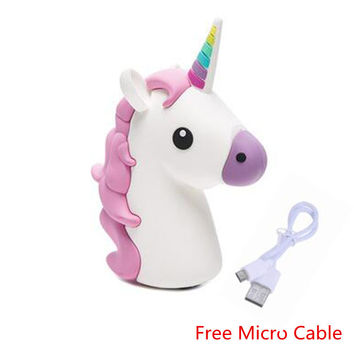 2600mah Unicorn power bank Cute Portable Emoji Power Bank Charger Cartoon USB Battery Bateria For Iphone 4 5 6