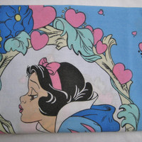 Vintage Disney Snow White Pillow Case Dopey Bluebirds Dwarf Standard Size Kids Bedding Pillowcase Craft Fabric Clean Used