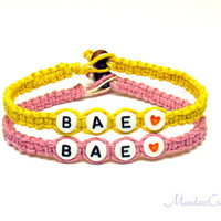 Bae Bracelets for Couples or Best Friends, Set of Two, Light Pink and Bright Yellow Hemp Jewelry
