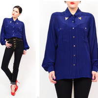 80s 90s Navy Blue Silk Draped Chic Western Shirt / Long Sleeved Slouchy Button Up Metal Collar Tip Blouse S / M