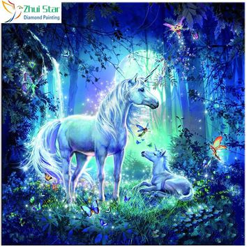 5D Diamond Painting Unicorns in the Moonlight