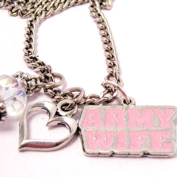 Hand Painted Army Wife Pink Necklace with Small Heart