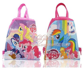 Hot,4Pcs My Little Ponies Kids Cartoon Drawstring Backpacks School Shoppping Bags,Children Party Bags Favor Gift