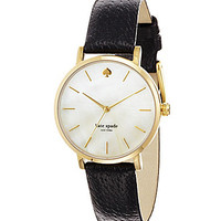 kate spade new york Metro Round Black Leather Watch - Black