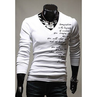White V-Neck Letter Print Long Sleeves T-Shirt