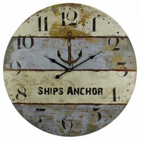 "23"" Wooden Vintage Ship's Anchor Clock Nautical Decor"
