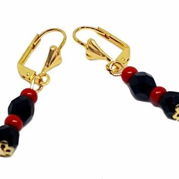 "1-1070-g2-4 18kt Brazilian Gold Layered Double Faceted Onyx (Azabache) Drop Earrings with Red Accents. 1-1/2"" length, 6mm beads."