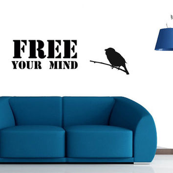 "Wall Decal: ""Free your mind "", Inspirational Quote Vinyl Wall,topography wall decor ."