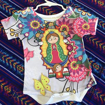 Our Lady of Guadalupe Onesuit for Baby - Colorful Flowers