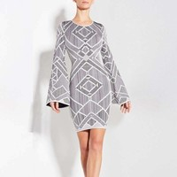 Dress Gray Long Sleeve Jacquard Luxury Celebrity Cocktail Party Bandage Dress H200
