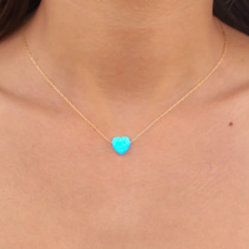 Best blue opal heart necklace products on wanelo opal necklace heart necklace gold necklace opal heart necklac aloadofball Choice Image