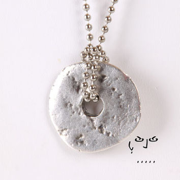 VujuWear Pewter Disc/Donut Pendant - Men's Necklace