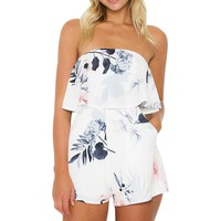 Off Shoulder Floral Print Sexy Playsuits Backless Beach Short Rompers Boho Party Jumpsuits Overalls