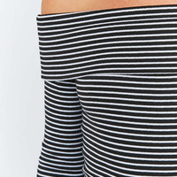 Light Before Dark Black and White Striped Folded Bardot Top - Urban Outfitters