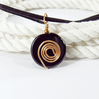 Black Agate Round Pendant with Copper Spiral on Black by bluetina