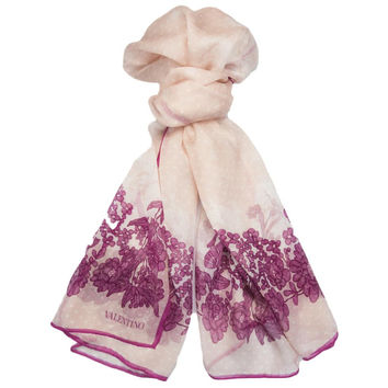 Valentino Pink Floral Silk Ladies Scarves