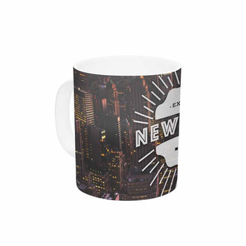 "Kess Original ""New York"" Orange Black Ceramic Coffee Mug"