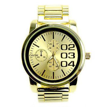 Jewelry Kay style Men's Fashion Analog Stainless Steel Back Metal Heavy Band Watches 0885 G