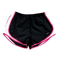 Nike Girls Tempo Running Shorts - Black/White | Lacrosse Unlimited